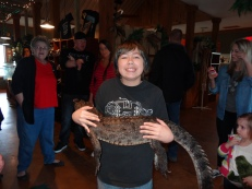 Austin holding a heavy alligator!