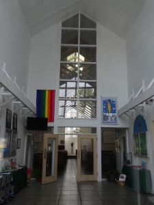 Inside architecture of the Williamsburg Unitarian Universalists' Sanctuary