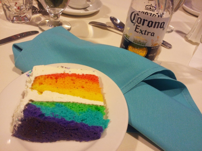 The best, moistest, most delicious LGBT cake with a cool Corona and lime.